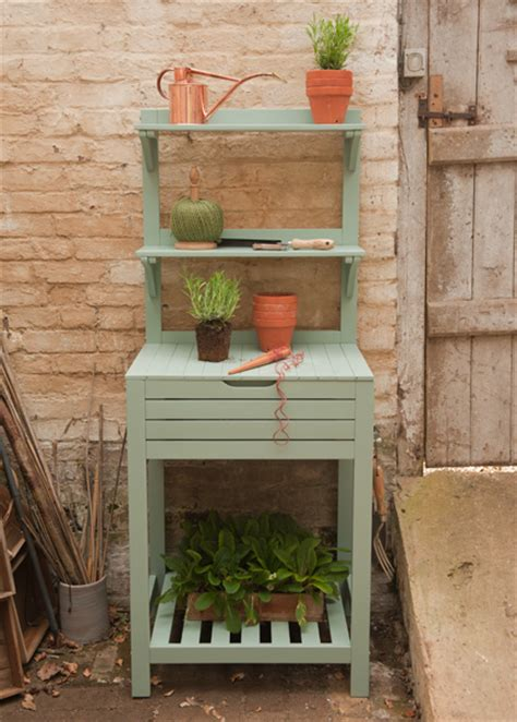 potting bench uk buy space saving potting bench with storage eau de nil delivery by crocus