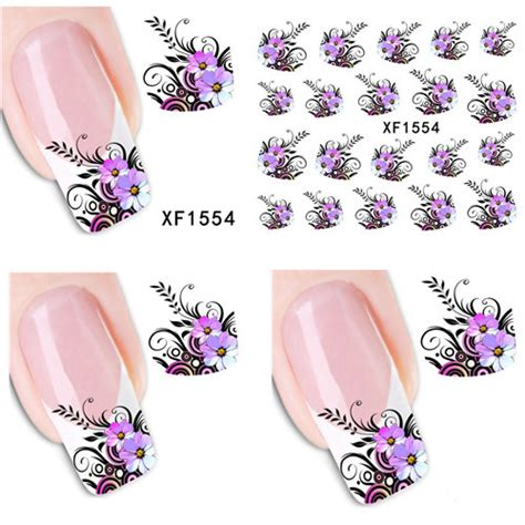 Nail Sticker Water Decal Stiker Kuku Nail 32 1 sheet purple flower design nail decals water transfer