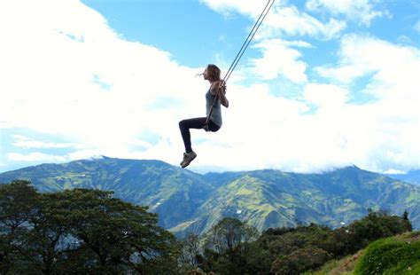 swing on riding a swing over a cliff in ecuador is bucket list