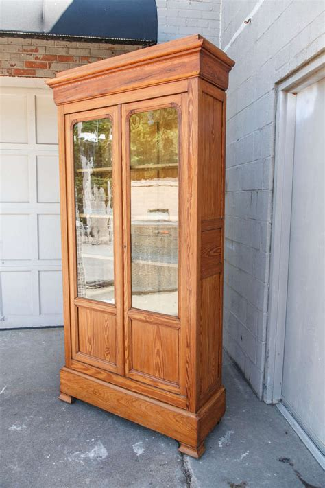 Antique Bookcase Glass Doors 19th Century Louis Philippe Pine Bookcase With Antique
