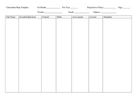 blank curriculum template monthly curriculum map template curriculum map template
