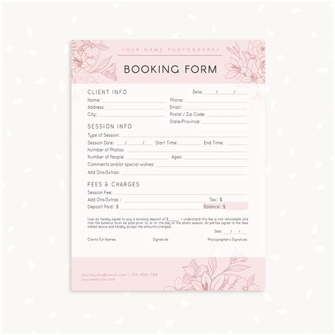 free templates for photographers floral client booking form template for photographers
