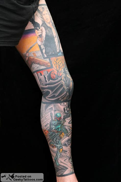 star sleeve tattoos amazing comic book wars leg sleeve geeky tattoos