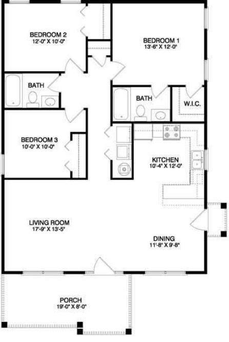 tre casa plano casa 3 dormitorios 1 planta