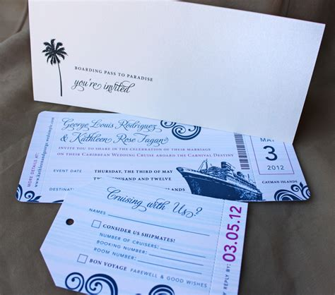 cruise wedding invitations wording blue swirl with fuchsia accents cruise boarding pass
