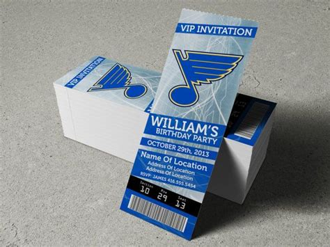 St Louis Blues Ticket Gift Cards - st louis blues birthday party event ticket invitation 2