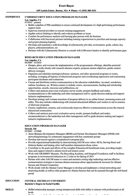 education program manager resume sles velvet