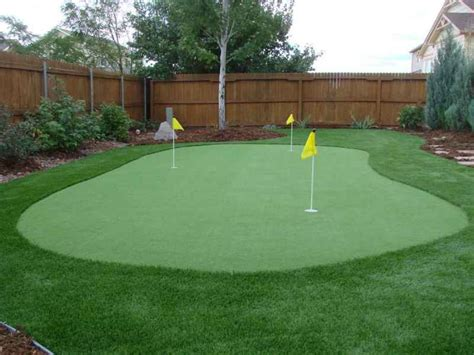 putting turf in backyard golf putting and chipping greens four seasons landscaping