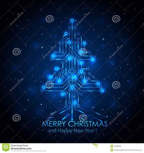 digital christmas tree blue digital tree stock vector illustration of mainboard tech 27968642