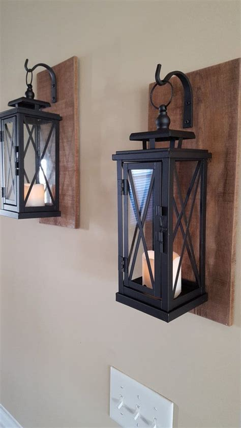 set    rustic wall mounted lantern sconces