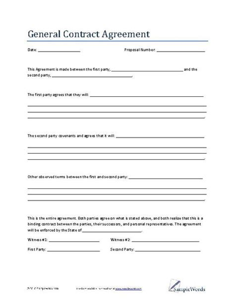 General Contract Agreement Template Business Contract Contract Agreement Template And Diy Ideas General Business Agreement Template