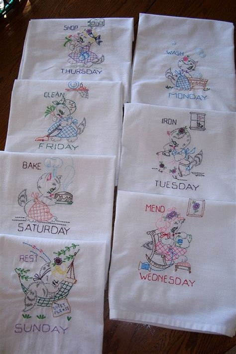 machine embroidery designs for kitchen towels days of the week flour sack towels miss kitty at work