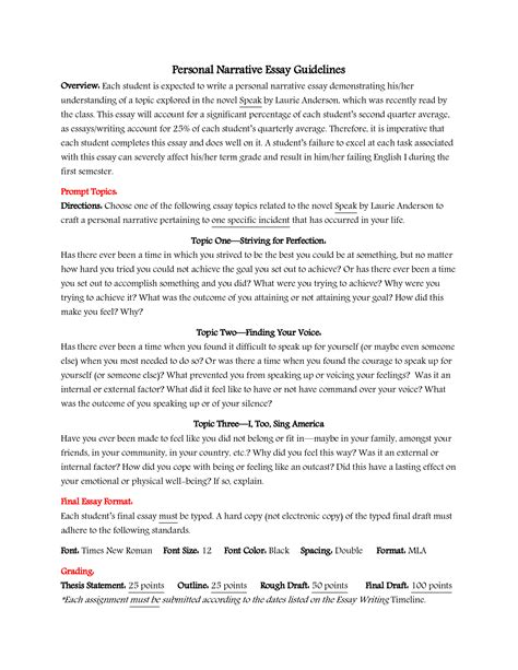 Exles Of High School Essays by Narrative Essay Topics For High School Students Essays