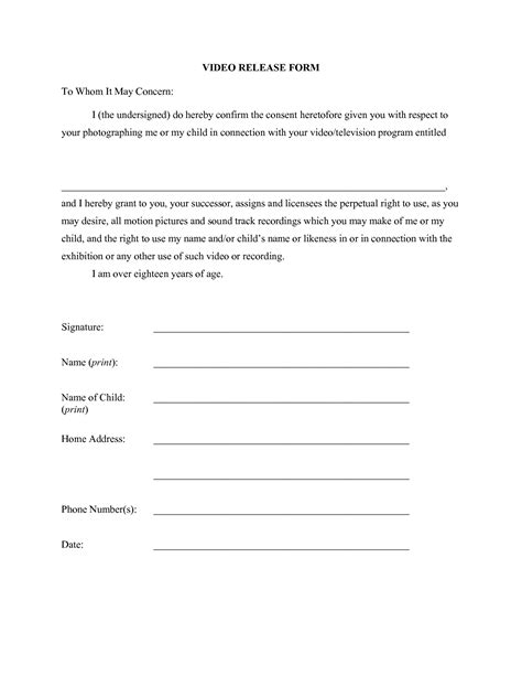 Photo Release Form Template Doliquid Print Release Form Template