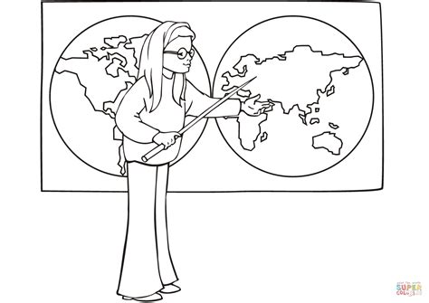 coloring pages geography printable school girl on geography lesson coloring page free