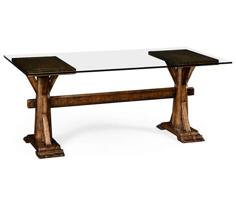 country living style walnut desk with glass top