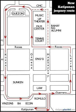 up diliman campus map with jeepney routes page 2