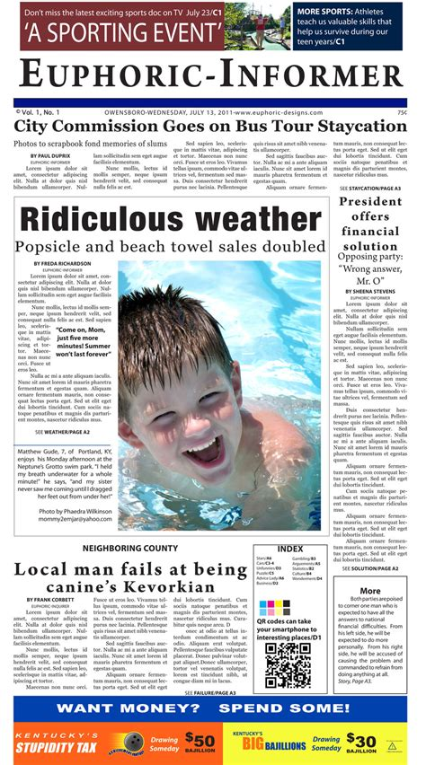 newspaper layout in indesign indesign exercise parody newspaper layout by euphoriafish