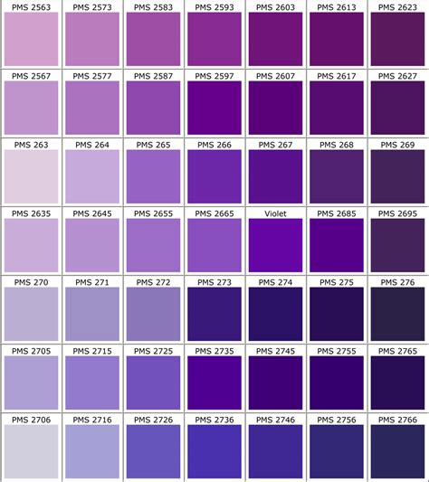 shades of purple color chart pantone color guide for apparel printing racer ink
