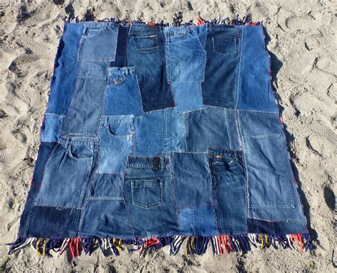 jeans blanket pattern patchwork denim quilt plaid picnic blanket with fringe by