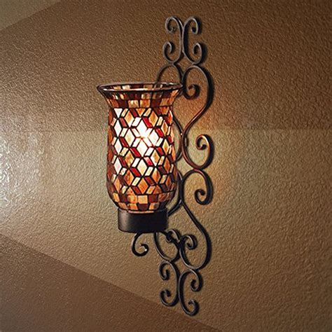 Mosaic Wall Sconce Black Metal And Mosaic Glass Wall Sconce Candle Holder With Led Candle Decorative Scrollwork