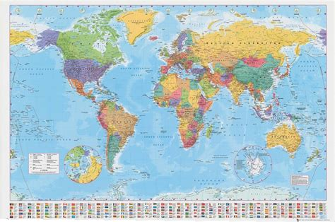 map world poster world map poster 100x140cm wall chart with flags of