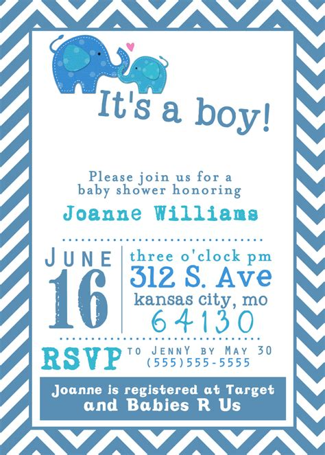 Printable Baby Shower For Boys by Free Printable Baby Shower Invitations For Boys