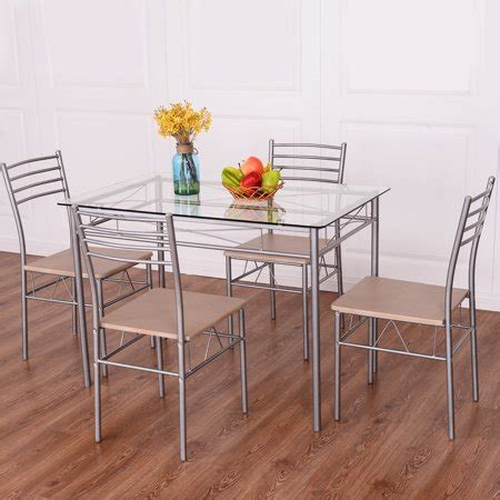 costway 5 dining set table and 4 chairs glass top