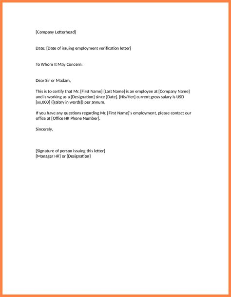 Employer Proof Of Employment Letter Sle verification letter of employment template 28 images