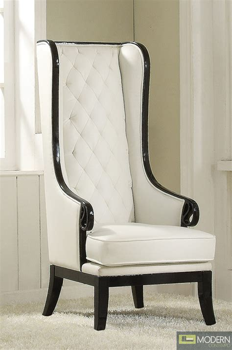 White Accent Chairs With Arms Neo Classic Opal Black White High Back Accent Wing Arm