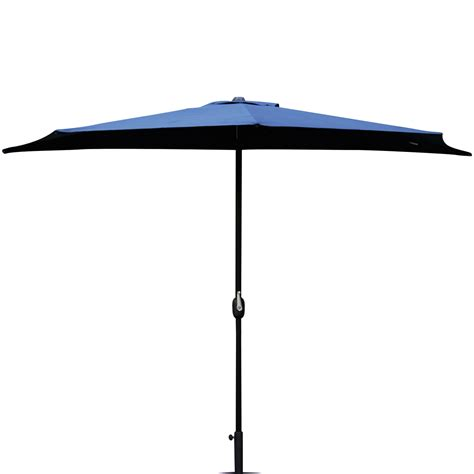 Half Patio Umbrella 10 Ft Half Outdoor Patio Umbrella Wall Corner Yard Crank Umbrella 5 Ribs Ebay