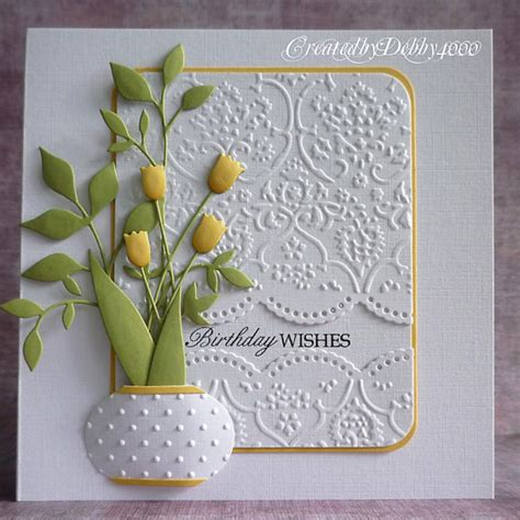 Cutting Dies Happy Birthday Card Patern vase of tulips by debby4000 at splitcoaststers