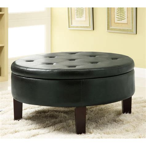 Shop Coaster Fine Furniture Black Vinyl Round Ottoman at Lowes.com