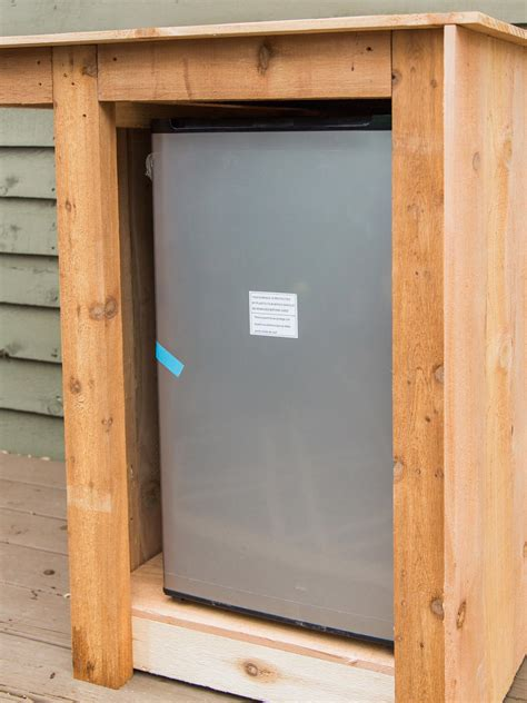 outdoor mini fridge cabinet how to build an outdoor minibar hgtv