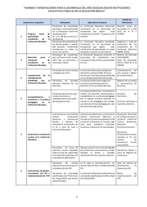 matriz de los 6 compromisos de gestion norma tecnica del inicio del a 209 o escolar 2016
