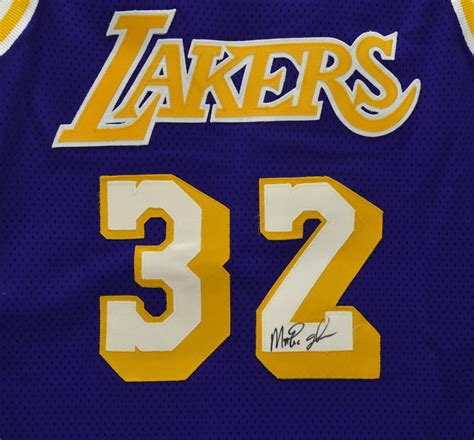 lot detail   magic johnson game worn  signed