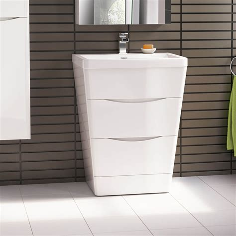 650 X 840mm Modern White Bathroom Vanity Unit Stone Modern Bathroom Units