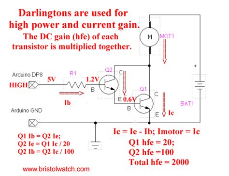 darlington transistor usage tutorial tip120 tip125 power darlington transistors