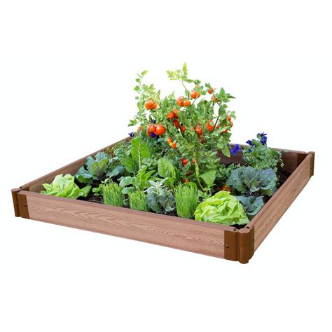 Frame It All Raised Garden Beds Frame It All One Inch Series 4 Ft X 4 Ft X 5 5 In Composite Raised Garden Bed Kit 300001058