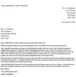Resignation Letter For Nurses Sle by Resignation Letter Exle Toresign