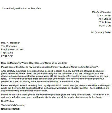Resignation Letter For Nurses Resignation Letter Exle Toresign