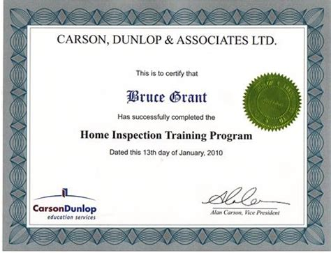 Home Inspection Certification by Home Inspection Specific Certificates Muskoka