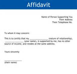Id document affidavit of income affidavit from person supporting you