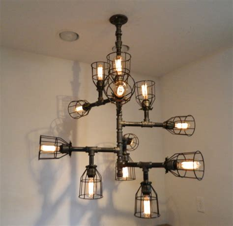 Etsy Chandelier 12 Bulb Buzz Chandelier Industrial By Miltondouglaslco On Etsy