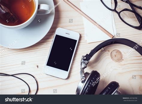 Mobile Records Paper Records Cup Tea Mobile Phone Stock Photo 245746798