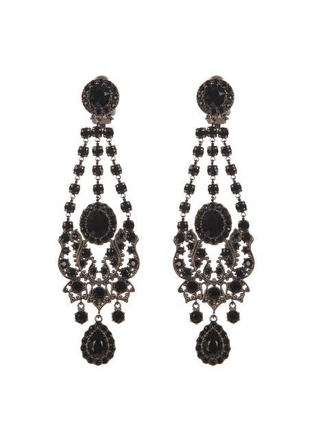Chandelier Style Earrings Lyst Givenchy Style Chandelier Earrings In Black