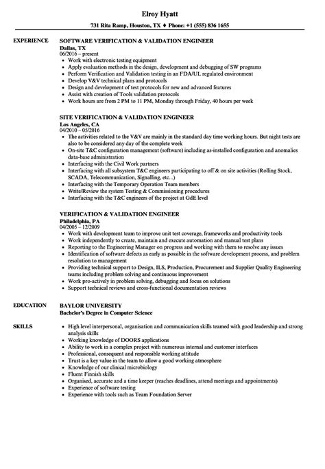Validation Engineer Resume by Verification Validation Engineer Resume Sles Velvet
