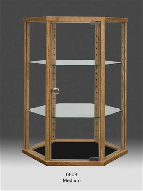wood hexagon glass countertop display cabinet counter