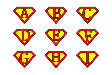 Superman Alphabet Template alphabet letters illustrations on creative market
