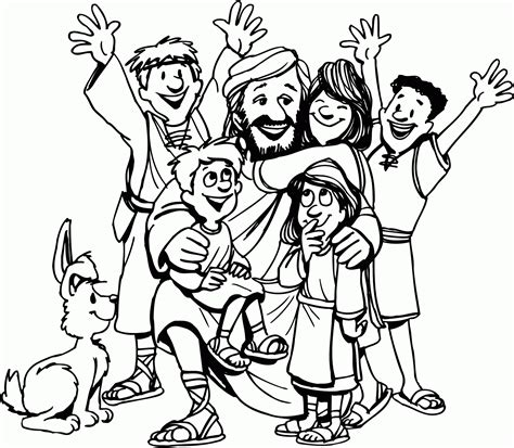 jesus loves the children coloring page wallpaper